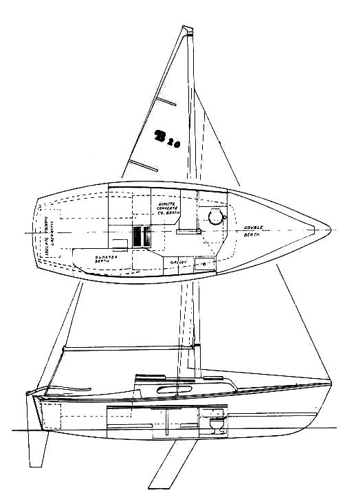 Balboa 20 drawing on sailboatdata.com