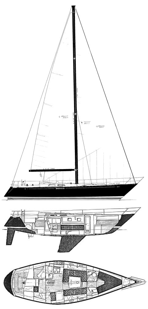 Baltic 39 drawing on sailboatdata.com