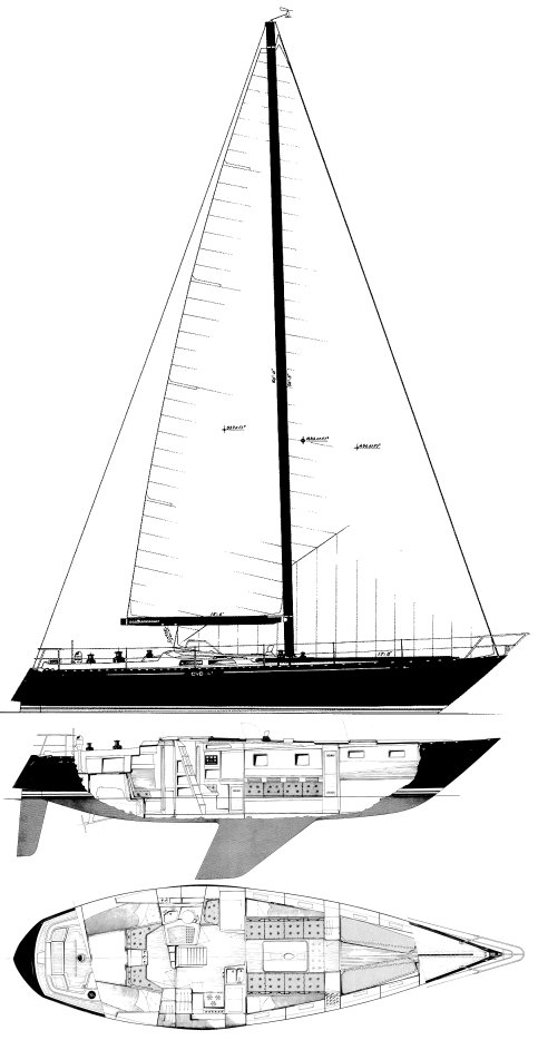 Baltic 42 drawing on sailboatdata.com