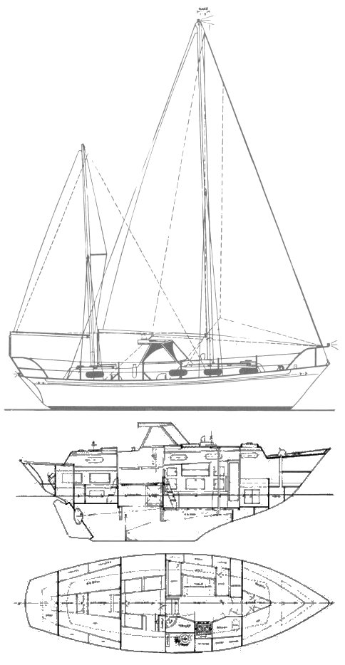 Barbary 32 drawing on sailboatdata.com