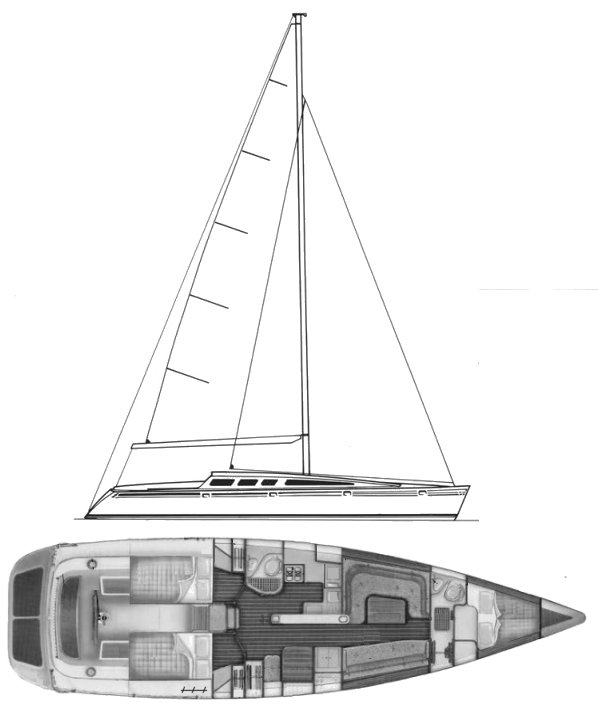 Barracuda 45 drawing on sailboatdata.com