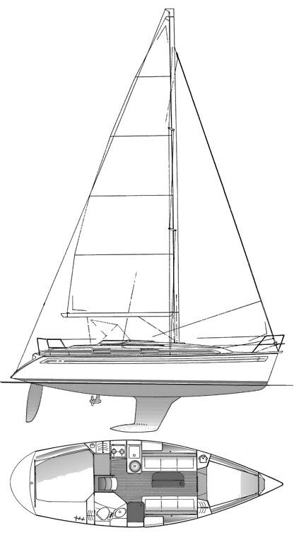 Bavaria 31 drawing on sailboatdata.com