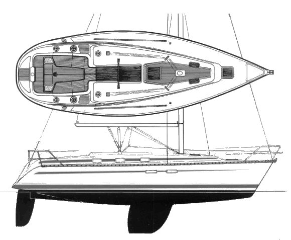 Bavaria 350 drawing on sailboatdata.com
