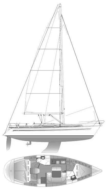Bavaria 40 drawing on sailboatdata.com