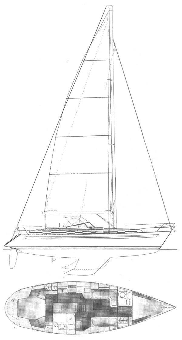 Bavaria 42 drawing on sailboatdata.com
