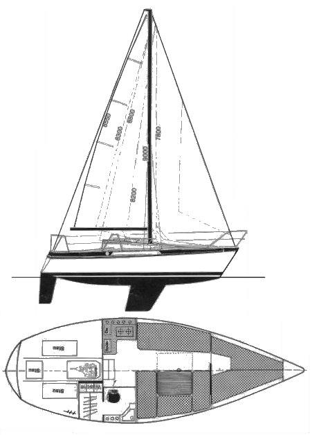 Bavaria 770 drawing on sailboatdata.com