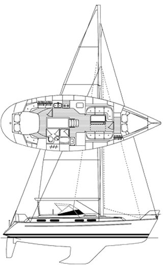 Bavaria Ocean 38 drawing on sailboatdata.com