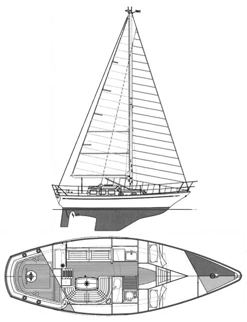 Belliure 30 drawing on sailboatdata.com