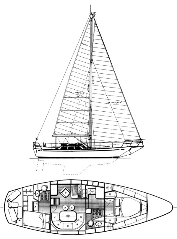 Belliure 41 (Ibold) drawing on sailboatdata.com