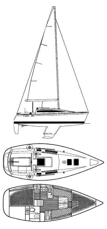 Beneteau First 285 drawing on sailboatdata.com