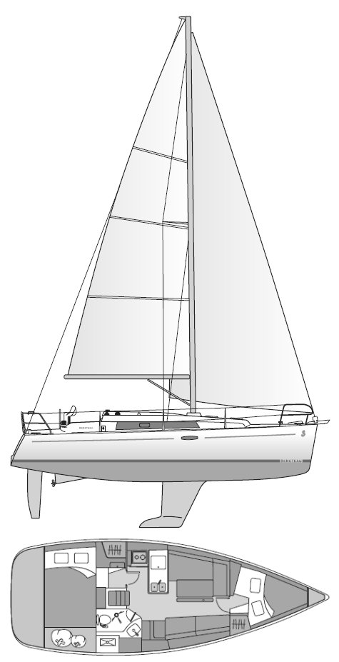 Beneteau 31 drawing on sailboatdata.com