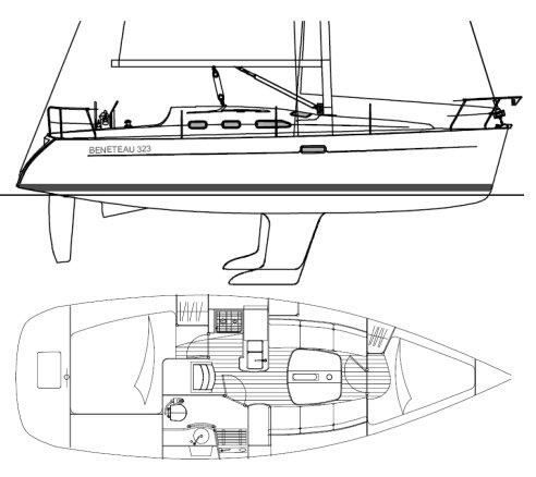 Beneteau 323 drawing on sailboatdata.com