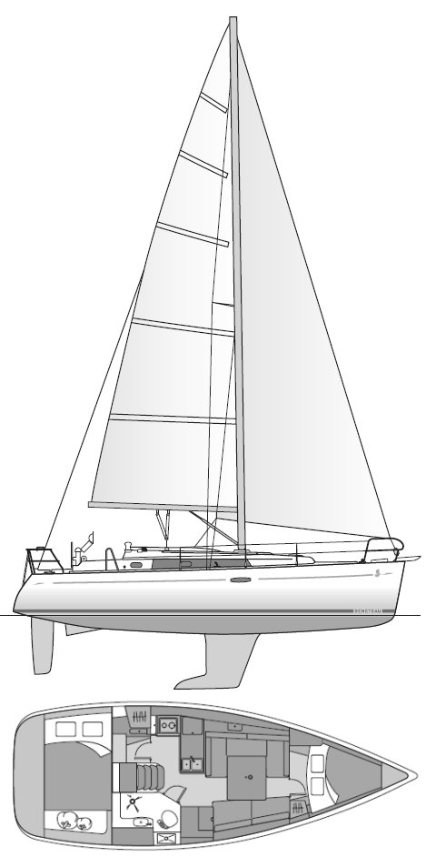 BENETEAU 34 drawing