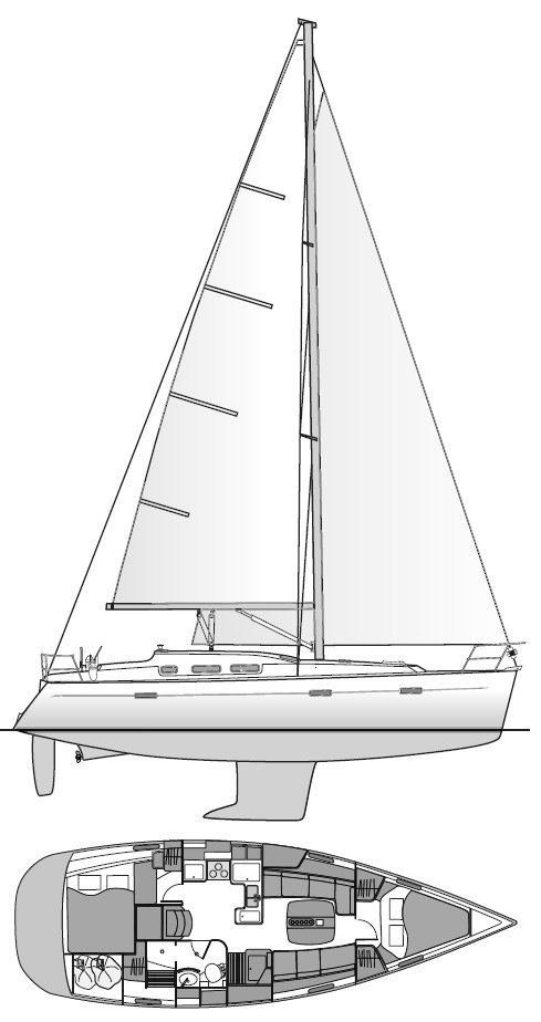 Beneteau 373 drawing on sailboatdata.com
