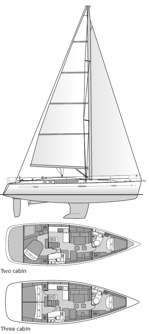 Beneteau 46 drawing on sailboatdata.com