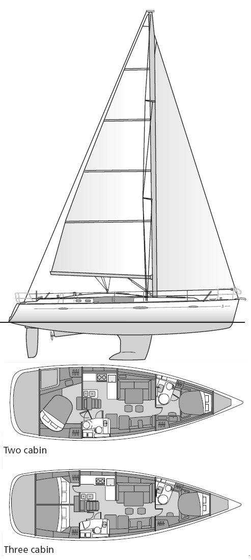Beneteau 49 drawing on sailboatdata.com