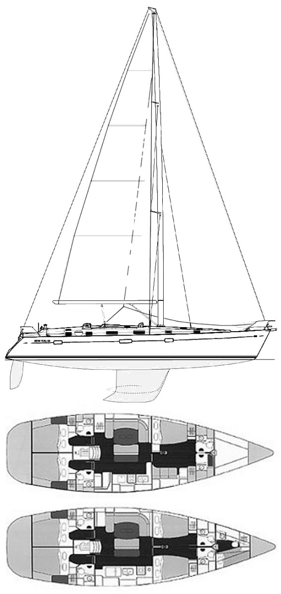 Beneteau 50 drawing on sailboatdata.com