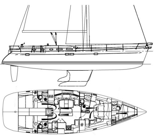 BENETEAU 523 drawing