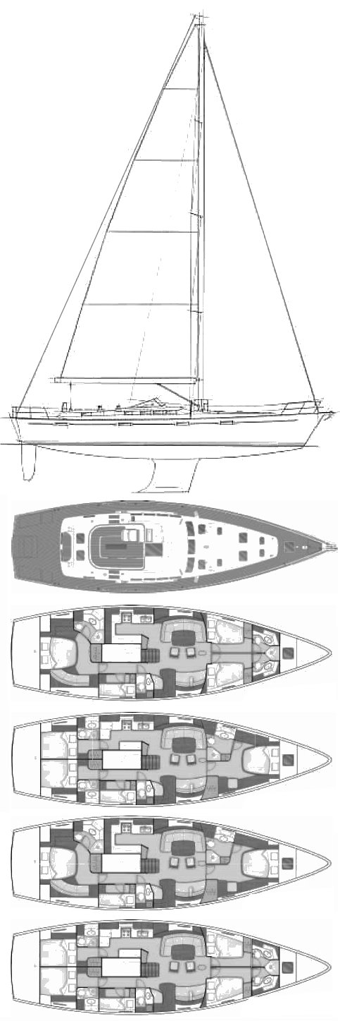 Beneteau 57 drawing on sailboatdata.com