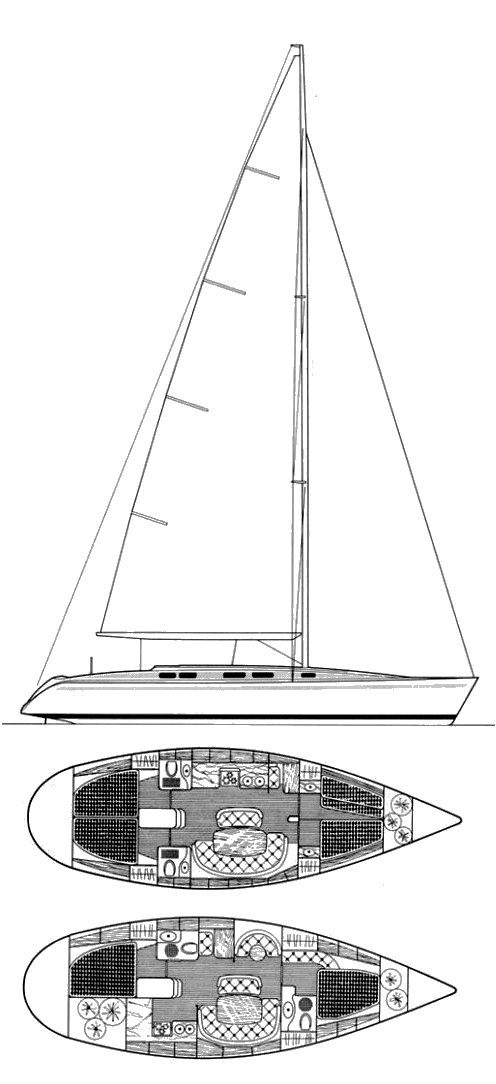 Beneteau First 45 drawing on sailboatdata.com