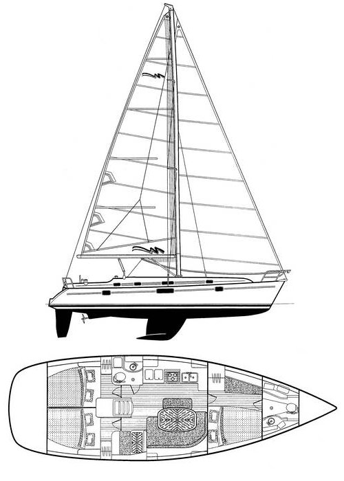 Beneteau Oceanis 411 drawing on sailboatdata.com