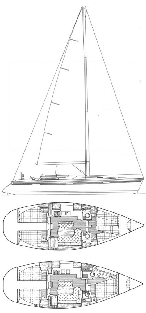Beneteau Oceanis 430 drawing on sailboatdata.com
