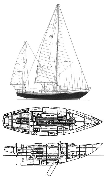 Burmuda 40-3 drawing on sailboatdata.com