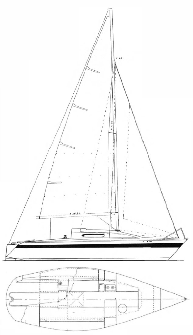 Bolero 25 drawing on sailboatdata.com