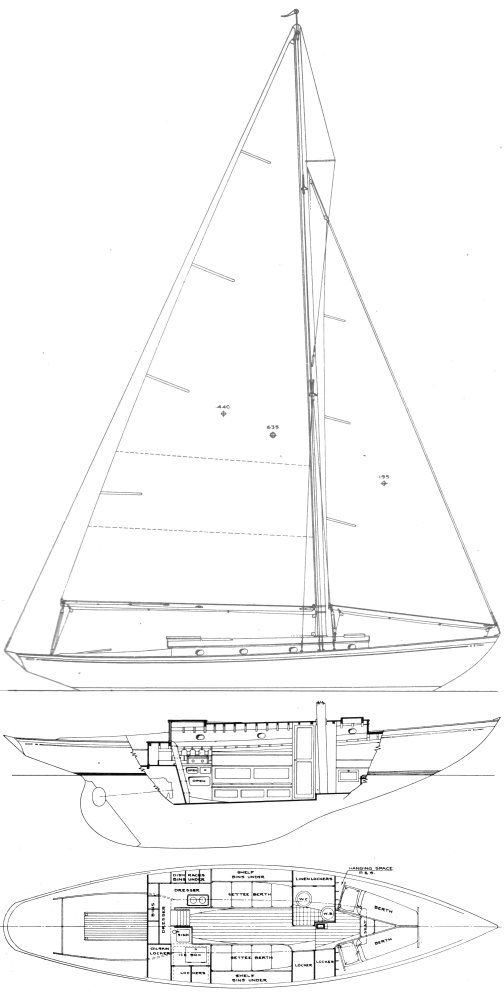 Bounty I (Rhodes) drawing on sailboatdata.com