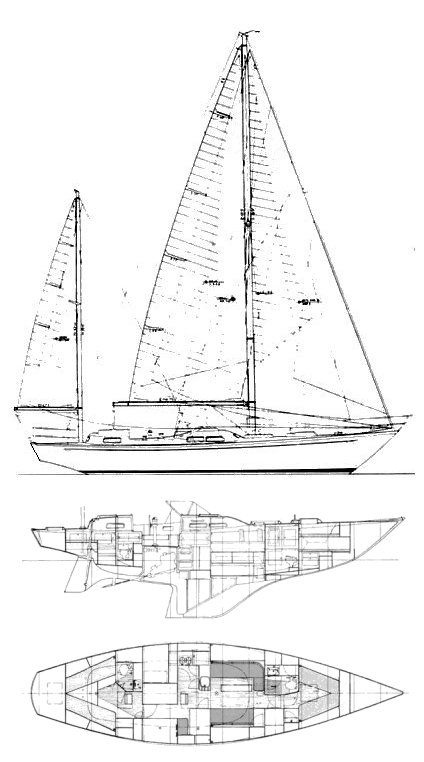 Bowman 46 Corsaire drawing on sailboatdata.com