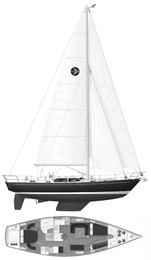 Bowman 48 drawing on sailboatdata.com