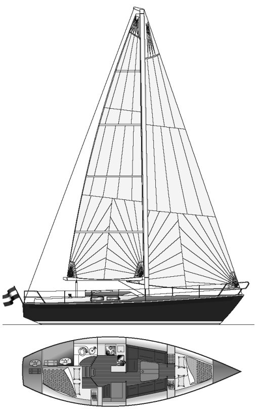 Breehorn 37 drawing on sailboatdata.com