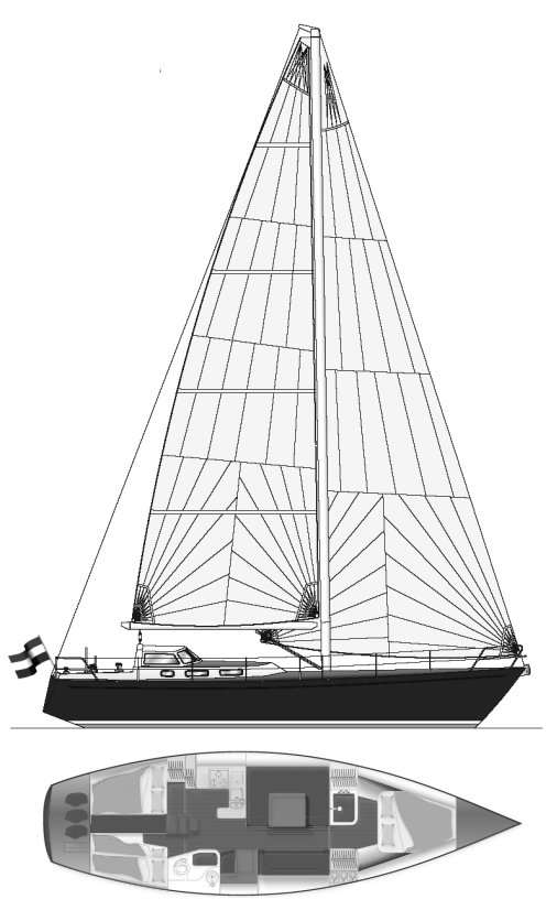 Breehorn 44 drawing on sailboatdata.com
