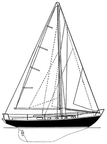 Breeon 36 drawing on sailboatdata.com