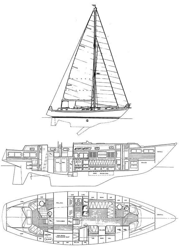 Brewer 44 drawing on sailboatdata.com