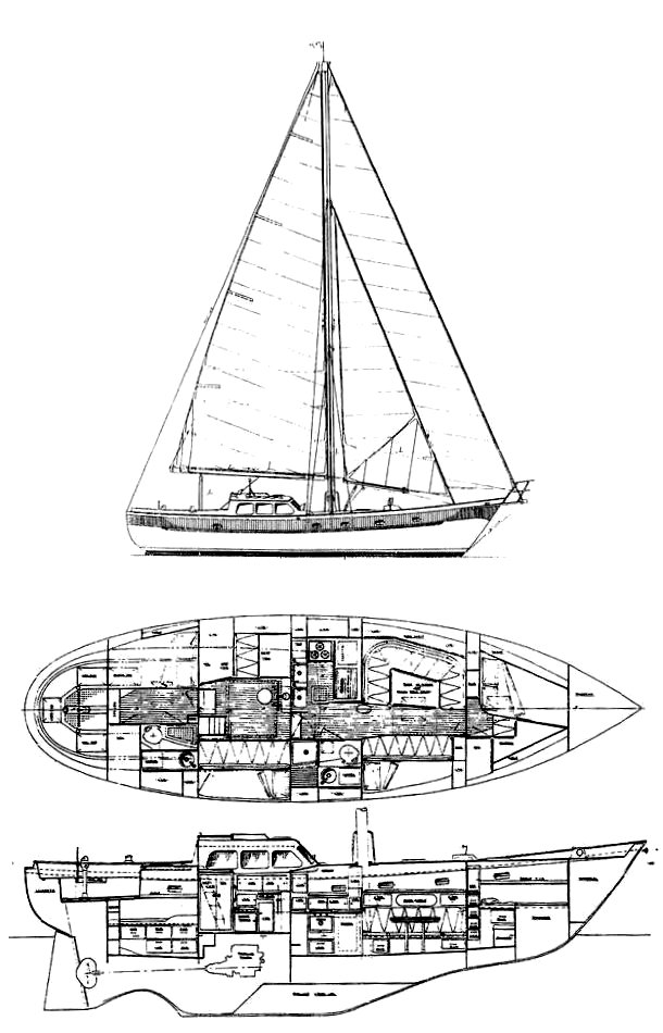 Brewer 46 drawing on sailboatdata.com
