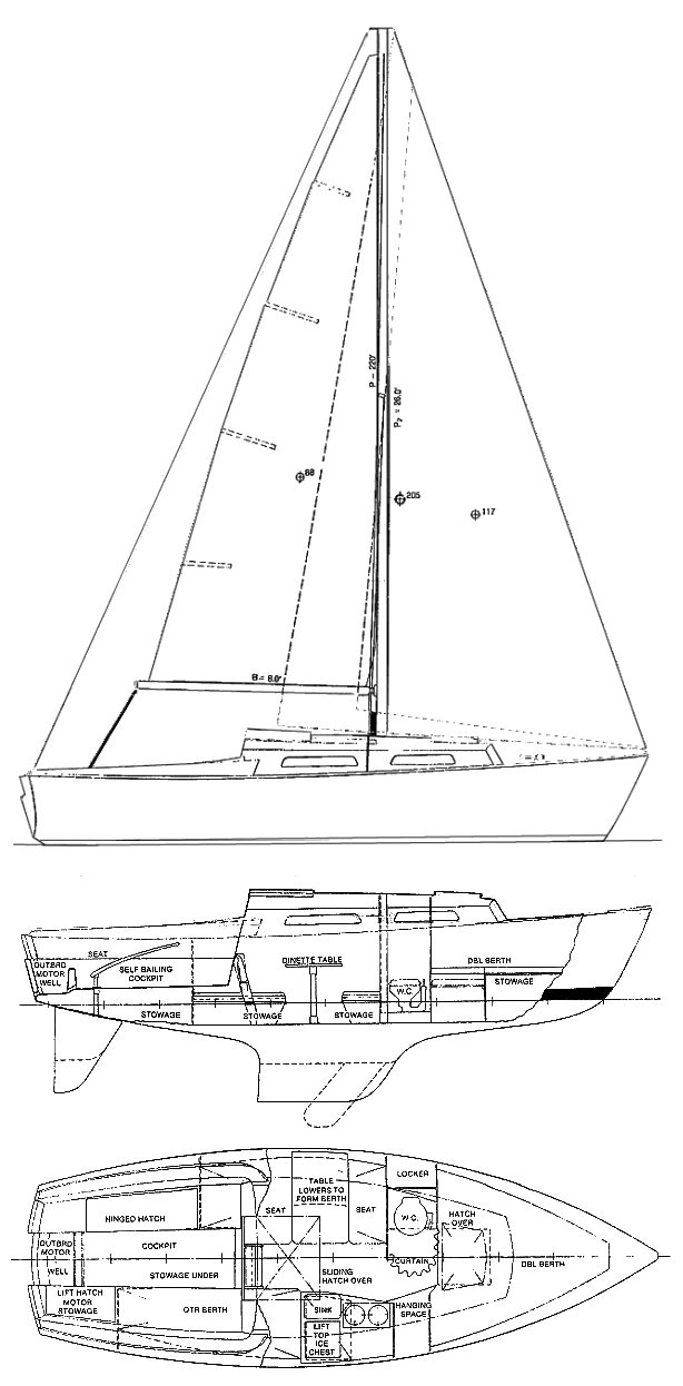 BRISTOL 22 CARAVEL drawing