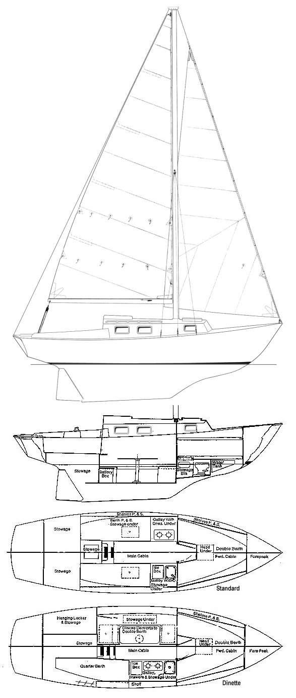Bristol 24 (Sailstar Corsair) drawing on sailboatdata.com