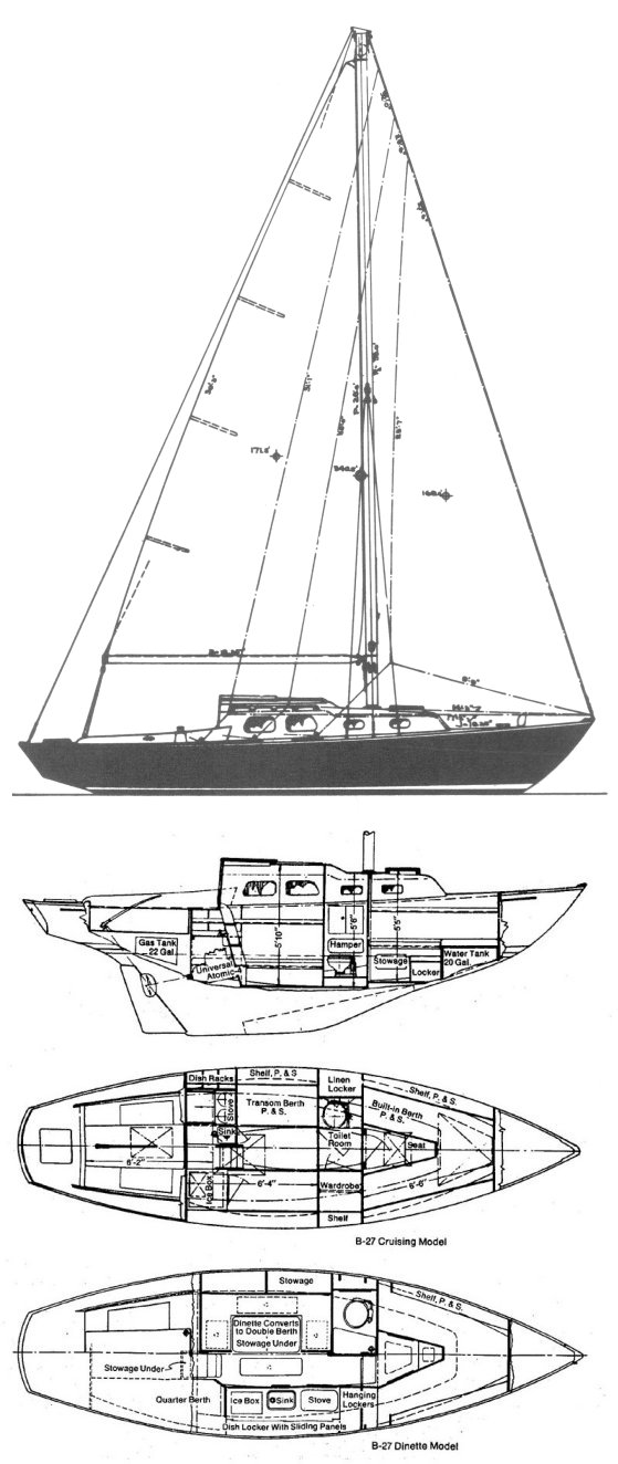 Bristol 27 drawing on sailboatdata.com