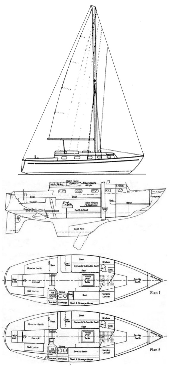 Bristol 29.9 drawing on sailboatdata.com