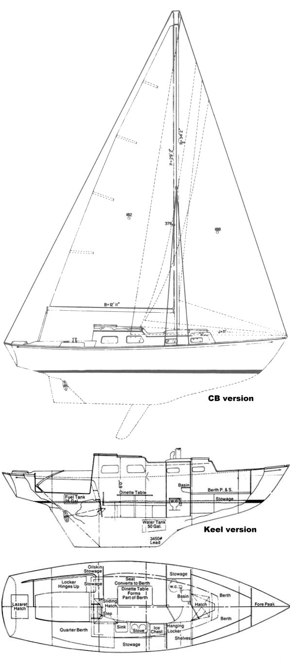 Bristol 29 drawing on sailboatdata.com