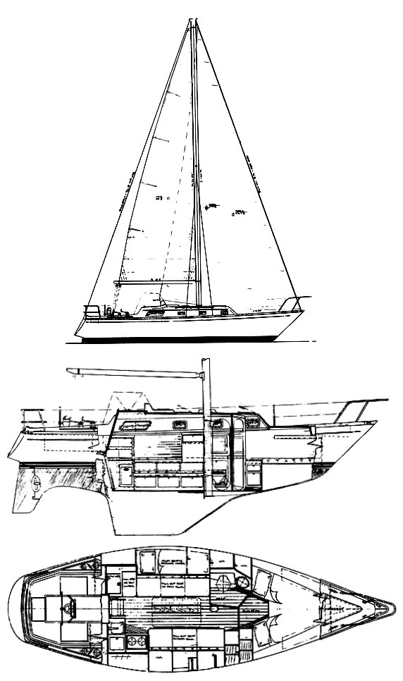 Bristol 31.1 drawing on sailboatdata.com