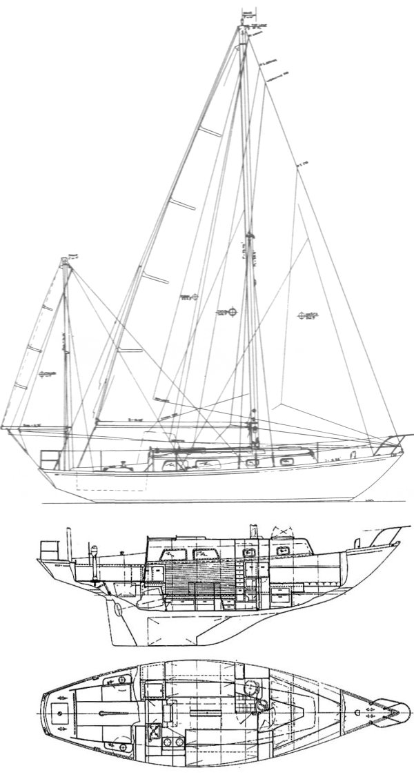Bristol 32 drawing on sailboatdata.com