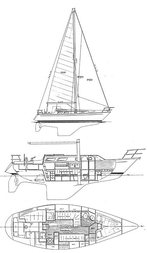 Bristol 33.3 drawing on sailboatdata.com