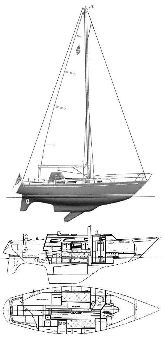 Bristol 35.5 drawing on sailboatdata.com