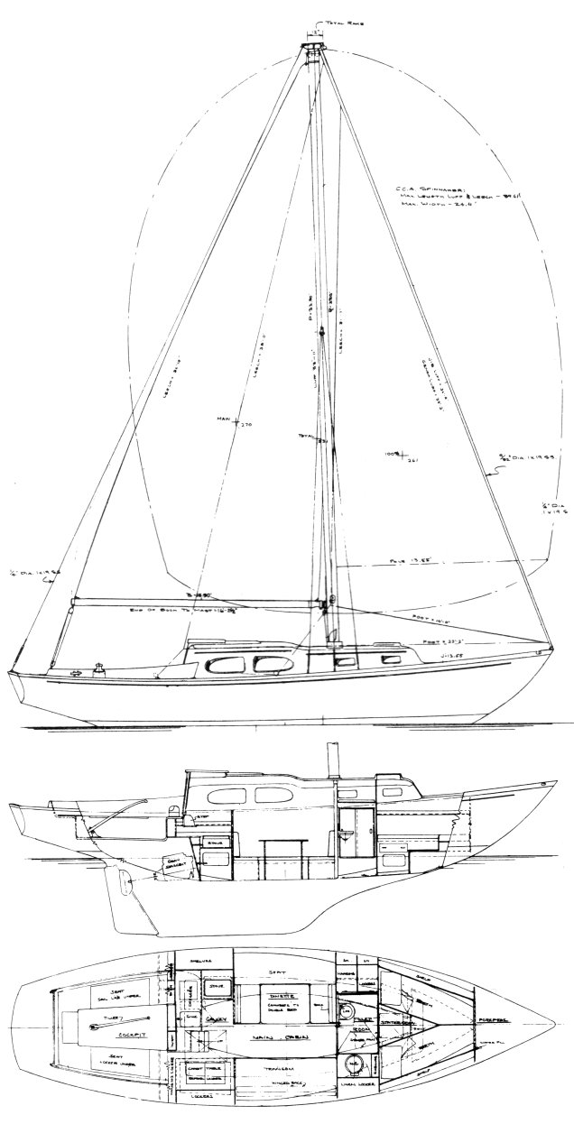 Bristol 35 drawing on sailboatdata.com