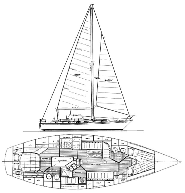 Bristol 43.3 drawing on sailboatdata.com