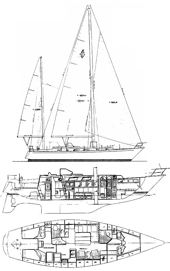 Bristol 45.5 AC drawing on sailboatdata.com