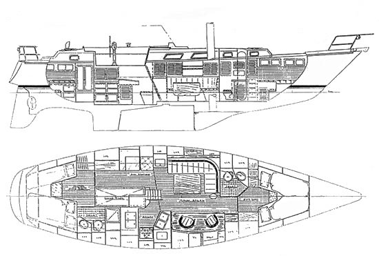 Bristol 45.5 CC drawing on sailboatdata.com