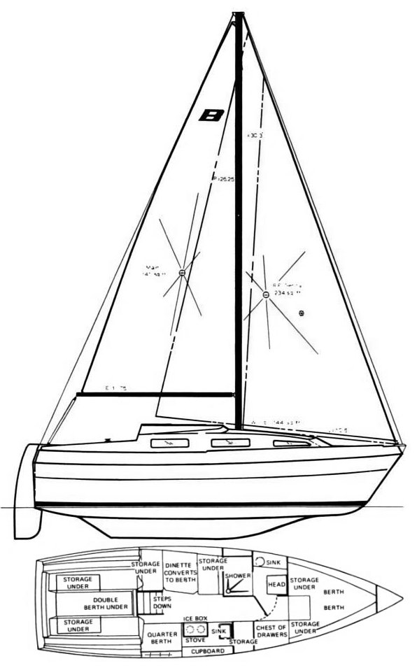 Buccaneer 270 drawing on sailboatdata.com